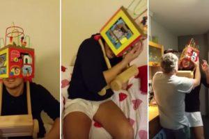 Momento Hilariante Em Que Adulto Fica Com a Cabeça Presa Dentro De Brinquedo 7
