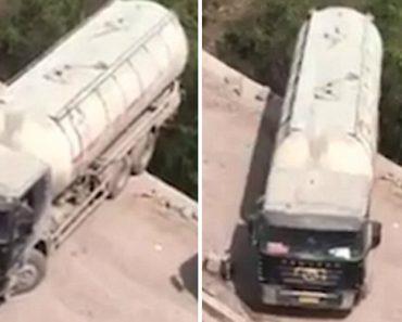 Camionista Com Nervos De Aço Faz Arriscada Manobra Em Perigosa Estrada 7