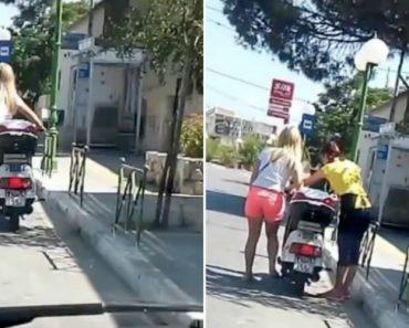 Apenas Uma Jovem Loira De Férias Em Creta a Tentar Pôr Uma Scooter a Trabalhar 3