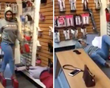 Mulher Sofre Espetacular Queda numa loja Ao Tentar Andar Com Sapatos Super Altos 5