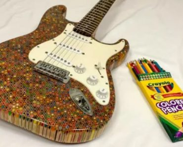 Artesão Constrói Guitarra Com 1200 Lápis De Cor 2