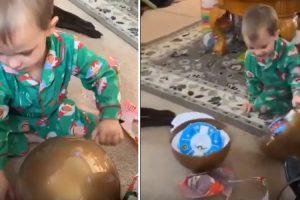 Criança Assusta Toda a Família Ao Usar Técnica Invulgar De Abrir Ovo Gigante 10