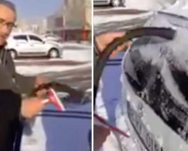 Automobilista Revela o Seu Truque Para Remover a Neve Do Carro De Forma Rápida e Sem Esforço 7
