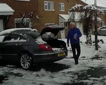 Condutor Descobre Método Super Rápido De Remover a Neve Do Seu Carro 5