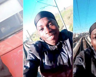 Jovem Filma-se a Circular No Exterior De Comboio Da CP Na Linha De Sintra 7