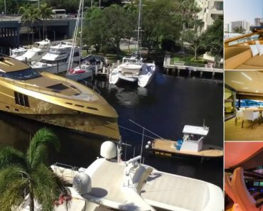 Iate Banhado a Ouro Chama Atenção Ao Chegar a Uma Marina Na Florida 9