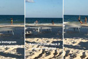 Todo o Trabalho De Produção De Um Casal Na Praia Para Criar Conteúdo Para o Instagram 10