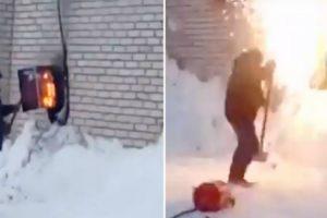 Homem Comete o Erro De Tentar Apagar Incêndio Elétrico Com Neve 17
