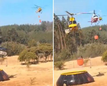 Helicópteros De Combate a Incêndios Fazem Fila Para Abastecerem o Depósito De Água 4