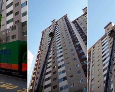 Incrível Elevador Exterior De Mudanças Consegue Subir Até Ao 25º Andar De Edifício 3