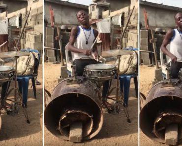 Nigeriano Arrasa Ao Tocar Numa Bateria Em Péssimas Condições 2