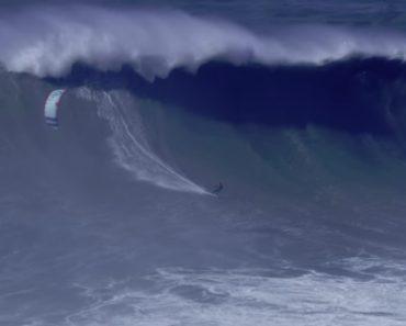 KiteSurfer Português Bate Recorde Com Maior Onda Surfada Na Nazaré 3