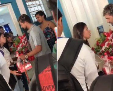 Rapaz Leva Flores à Amada Diante Toda a Escola e Não Reage Bem Quando Percebe Que Foi Rejeitado 7
