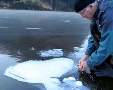 Faz Um Pequeno Buraco No Lago Congelado, Mas Veja o Que Acontece Quando Acende o Fósforo 8