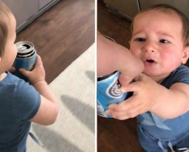 Bebé Foge Com a Cerveja Do Pai e Recusa Devolvê-la 1