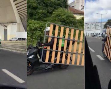 Motorista Da Uber Eats Carrega Estrado De Mota Por Lisboa 1