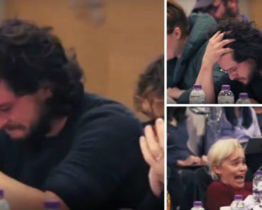 """A Reação De Kit Harington e Emilia Clarke Ao Ouvirem o Guião Do Último Capítulo De """"A Guerra Dos Tronos"""" 9"""