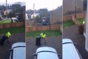 Homem Enfrenta Hilariante Batalha Ao Tentar Colocar Caixote Do Lixo Na Rua Num Dia De Gelo 19