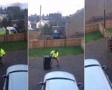 Homem Enfrenta Hilariante Batalha Ao Tentar Colocar Caixote Do Lixo Na Rua Num Dia De Gelo 5
