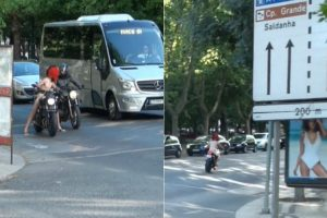 Motociclista Circula Todo Nu Na Avenida Da Liberdade Em Lisboa 17
