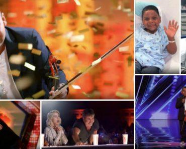 """Menino Violinista Que Venceu o Cancro Recebe o """"Botão Dourado"""" No America's Got Talent 5"""